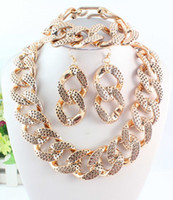 Wholesale 2014 Hot Fashion Shiny Rose Gold Color Spot Chunky Curb Chain Necklace Bracelet Earring Set