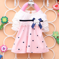Wholesale Brand New Girls T Shirts A Line Neck Style Dot Flower Lace Skirts Children TUTU Dresses with Tibetan Blue Butterfly Knot