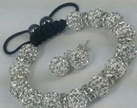 Beaded, Strands best price china wholesale - Factory Price mm White Two Row best cheap clay disco ball Beads Bangles hotslae Crystal Shamballa Bracelet earring set women jewelry Gift