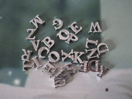 8mm Zinc Alloy Slide Letters Half Rhinestone Dog ID DIY Alphabet From A-Z 1200Pcs Lot Free Shipping