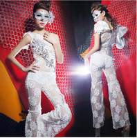 Clubwear Zip Spandex 2014 Sexy Party Dancer New Greek Goddess Oblique Shoulder Crochet Gauze Perspective Jumpsuits Costumes Hip-Hop Jazz Nightclubs Stage Wear