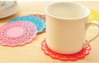 Wholesale Translucent openwork hollow lace coasters Silicone pad Insulation coasters cute Cup mat