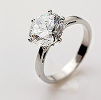 Wholesale Bling Cubic Zircon Diamond Rings Prongs Wedding Rings for Women r024