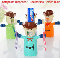Wholesale Love guards Automatic Toothpaste Dispenser Toothbrush Holder Cup Bathroom Household in
