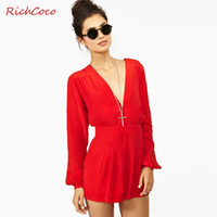 Wholesale women fashion sexy long sleeve high waist deep v neck european style chiffon jumpsuit for dropshipping D148
