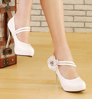 Wholesale Elegant white pu leather flower buckles high heels shoes women wedding shoes party evening shoes for Bridal Shoes huihui2014