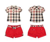 Girl Summer brand sets 3pcs set shirt+ shorts+ belt baby suits...