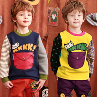 Wholesale 2 Y New Fashion Spring Autumn Child Baby Kids Girls Boys Long Sleeve Cute Cat Pocket Striped Yellow Dark Blue T Shirts Tops H0140268