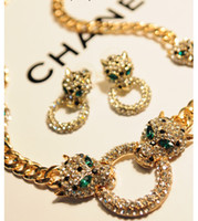 Wholesale New fashion leopard head semi precious jewelry set necklace earrings