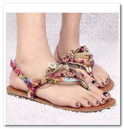 Wholesale Bohemia style Fashion women lady flat heels diamonds sandals flat shoes multicolor Beaded women Shoes