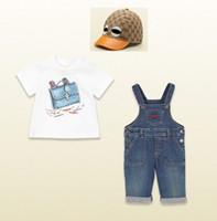 Brand Sets Girl Summer sets 3pcs set T- shirt+ suspender trous...
