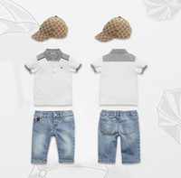 Wholesale Free shipping Boys Summer 3pieces sets T- shirt+ tro...