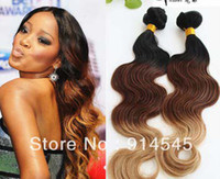 Chinese Hair Body Wave Ombre Color Oxette hot sale 5A quality ombre hair extensions 1b #4 27# three tone color Peruvian virgin hair body wave weft 3pcs lot