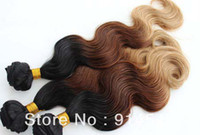 Chinese Hair Body Wave Ombre Color Oxette HOT SALE 1b #4 27# ombre color three tone color Brazilian human hair weft 4pcs lot free shipping mix length