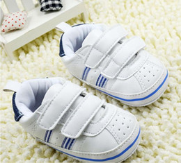 Wholesale 23 off Drop ship Baby shoes white stripe toddler shoes baby wear infant casual shoes kids sports shoes soft walker shoes pairs