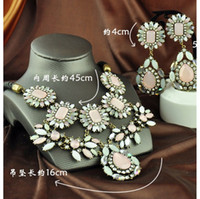 Wholesale 2014 new retro luxury pink cherry semi precious jewelry sets necklace earrings