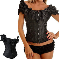 Women Bodysuit Bustiers & Corsets 2014 hotsaleFREE SHIPPING NEW SEXY FULL STEEL BONES LACE UP CORSET TOP BUSTIER WITH THONG