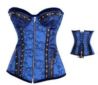 Women Bodysuit Bustiers & Corsets 2014 hotsaleNew Arrival High Quality Women Intimates Blue Full Steel Bone Overbust Corset With Zipper ,Sexy Lingerie