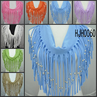 Wholesale 2014 infinity scarf latest design scarf spring summer scarves tassel polyester shawl Weibo color mixing CHINA POST FREE HJH0060