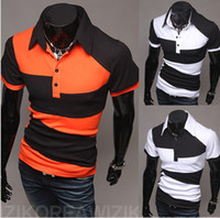 Wholesale 1002 HOT New Fashion Korea Men s Slim mixed colors irregular Lapel short sleeve POLO T shirts shirt