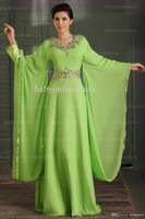 Wholesale new hot Floor Length embrolder maxi gown casual crystal abaya in dubai Kaftan evening Dress with Long Sleeve
