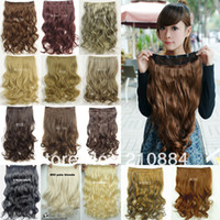 Wholesale 20 quot CPS Clip In Hair Extensions Synthetic women s lady s Curly Wavy Fashion Clip On Hair Extension Clips