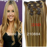 "Hair Extension Yes Clip-In new Hot sale 15"" 18"" 20"" 22"" Full Head Remy Human Hair Color 12 613 7pcs Brazilian Virgin Hair clip in hair extensions"