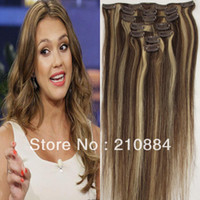 "Hair Extension Yes Clip-In 15"" 18"" 20"" 22"" 7PCS Brazilian Human Hair Extension Clip in Virgin Hair Color #4 613 Blonde 70g 80g Set Free Shipping"