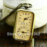 Quartz New without tags Pocket & Fob Watches Quartz Retro pocket watch Rectangular long chain Roman numerals Fan146575 movement dual clock necklace DDY54