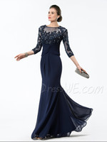 Model Pictures Jewel Neckline Chiffon Lace 2014 Half Sleeve Mermaid Beaded Chiffon Formal Evening Mother of the Bride Groom Dresses Gowns