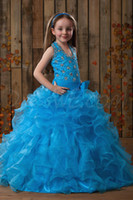 Model Pictures Girl Ruffle Princess 2014 Lovely Beaded Sheer Halter Sleeveless Ball Gowns Little Kids Flower Girls Pageant Dresses Cheap For Wedding