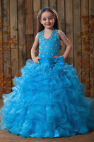 Model Pictures Girl Beads Princess 2014 Lovely Beaded Sheer Halter Sleeveless Ball Gowns Little Kids Flower Girls Pageant Dresses Cheap For Wedding