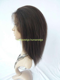 Indian Remy yaki straight full lace wig 100% human hair 8 inch,dark brown #2 color