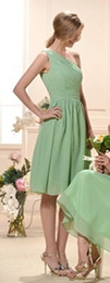 Classic One-Shoulder Fabulous Draped Empire Waist Knee-Length Train Chiffon Bridesmaid Dress Wedding Party Dresses
