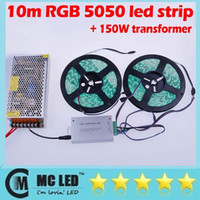 Wholesale 10M LED Strip Waterproof RGB Warm White Cool White Key Aluminum Remote box A Transformer for Home Party Decoration