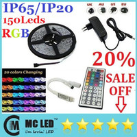 Wholesale 5050 SMD Ft M Leds RGB Led Strips Waterproof Non waterproof Key IR Remote Control V A Power Supply With EU AU UK US Plug