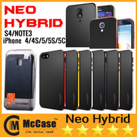 Wholesale Promotion SPIGEN SGP Neo Hybrid EX Hard Cover Case Bumper Cases For iPhone S S C Galaxy Note S4 With Retail Packaging DHL Free Ship