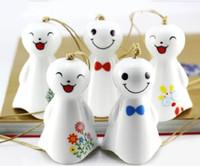 ceramic crafts - Various Smile Doll Designs White Ceramics Wind Charime Car Decoration Home Decoration Ceramics Crafts TC0301