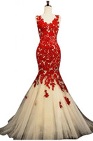 Real Photos formal gowns - Sexy Mermaid Evening Dress Scoop Organza Applique Pleats Lace Beads Hollow Sweep Train Red Evening Dresses Prom Gowns Formal Evening Gowns
