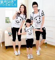 clothing china - Family Clothing Wear Grid Pattern China Panda Printed Short Sleeve Hoodies Pants Set Summer Cotton Casual Suit B2954