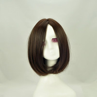 Dark Brown Straight Under $50 whosales brown fashion long hair wigs for women synthetic wigs with bangs natural looking wigs hair weaves buy cheap wigs online HZ-062