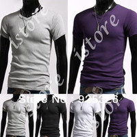 Men Polo Tops 2014 Men's T-shirt Casual V-Neck Short sleeve Tops Slim Stylish cotton T-shirt Black White Gray Purple S M L XL 3324