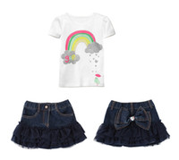 Wholesale Free shipping 2014 Girl Summer sets 2pcs set T- shi...