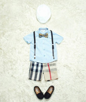 Boys Brand sets 5pieces set shirt+ suspender shorts+ hat+ belt+...