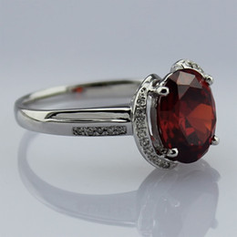 Wholesale Fashion Jewelry X11mm Garnet And Clear Cubic Zircon Silver Ring