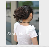 Wholesale Clip in Pretty Girls and women s Fashion Big hair bun Wig Curly hair Chignon luxurious headwear Fashion Ponytail Scrunchie Women Hairpieces