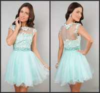 Wholesale 2014 Short Cap Sleeve Lace Dress by Dave and Johnn short prom dresses green lace organza piping high quality custom made cheap