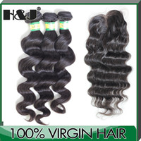 "Brazilian Hair Natural Wave  1 Piece Lace Top Closure with 3Pcs Hair Bundle,4pcs lot,Brazilian Virgin Hair Extension,natural Wave 12""-30"" Free shipping"