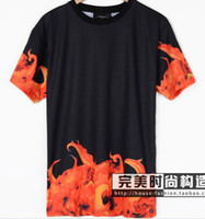 european fashion for men - 2014 summer new GIV NCH European and American fashion house Ji flames of hell for men and women couple models short sleeved T shirt TEE