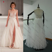 Wholesale 2014 Paolo Sebastian Real Sheer Beach Wedding Dresses A Line Beaded Embroidery Runway Gowns Off Shoulder Cap Sleeves Tulle Chiffon Dhyz